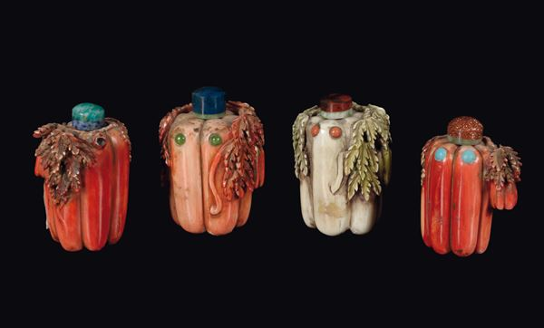 Four painted ivory snuff bottles, China, Qing Dynasty, late 19th century