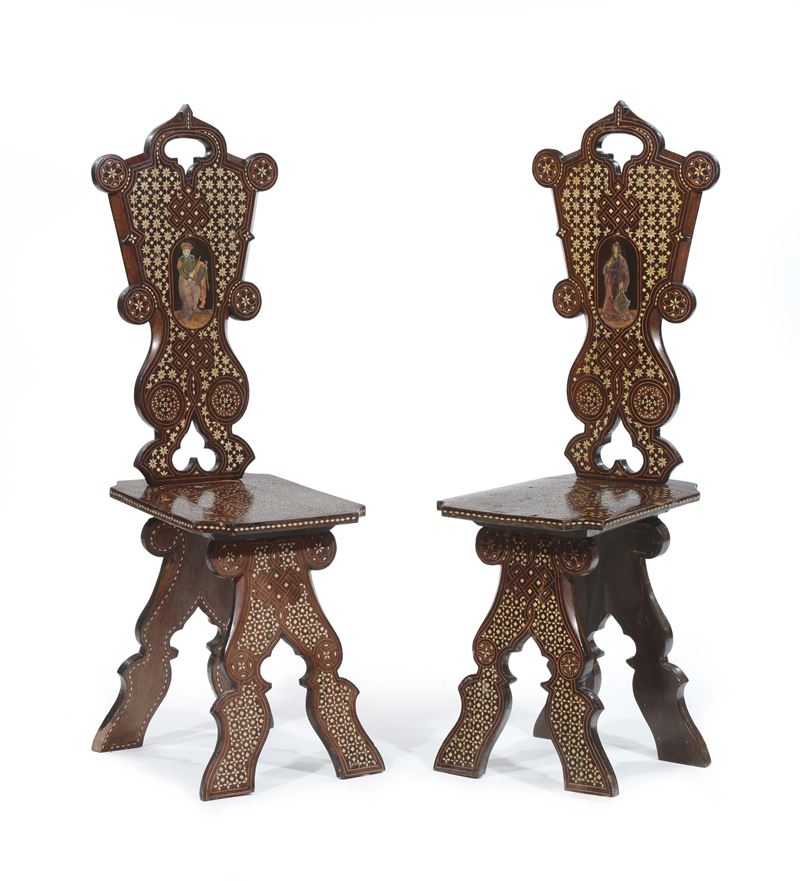 Coppia di sedie intarsiate in osso, XIX secolo  - Auction Furnishings from the mansions of the Ercole Marelli heirs and other property - Cambi Casa d'Aste