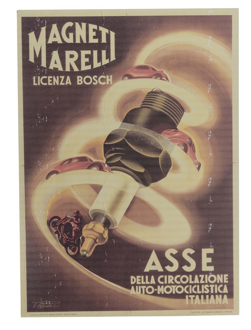 Poster Magneti Marelli, 1938  - Auction Furnishings from the mansions of the Ercole Marelli heirs and other property - Cambi Casa d'Aste