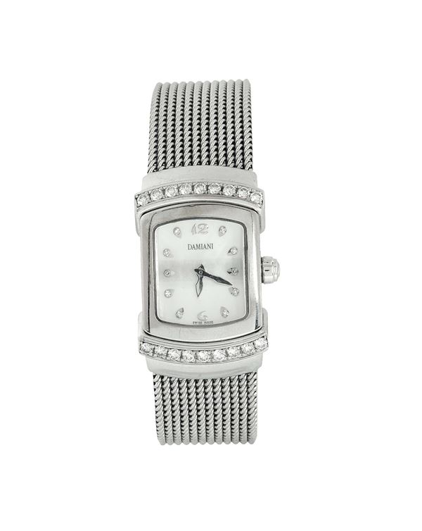 Damiani, 18K white gold and diamond lady's quartz wristwatch with an 18K white gold bracelet. Made in the 2000's. Accompanied by original box and guarantee.