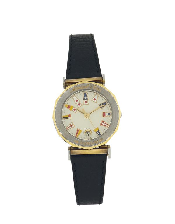 Corum,Admiral Cup lady's quartz wristwatch with date. Made in the 1990's. Accompanied by its original box and  a Corum stainless steel and gold deployant clasp.