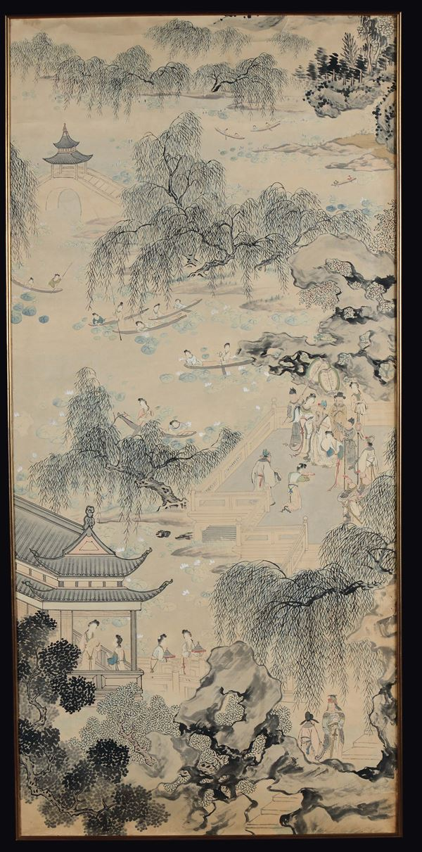 A painting on paper depicting river landscape with common life scenes, China, Qing Dynasty, 19th century