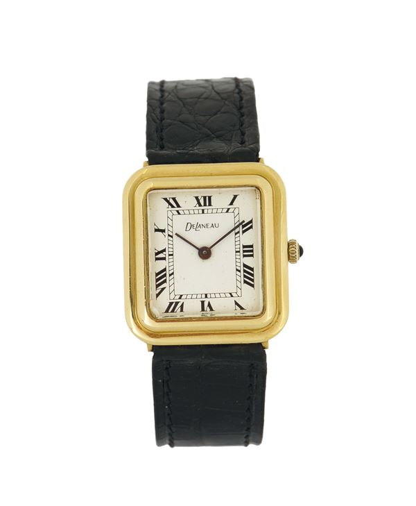 DE LANEAU, 18K yellow gold wristwatch with an 18K yellow gold deployant clasp. Made in the 1970's