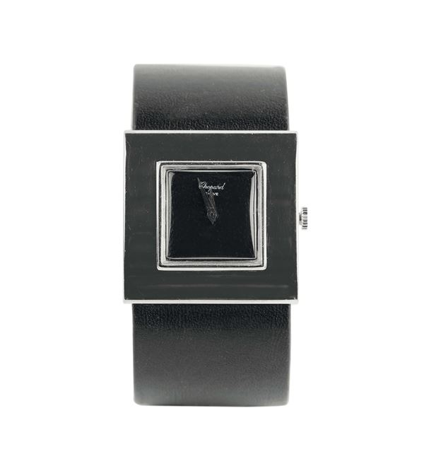 Chopard, 18K white gold and leather wristwatch. Made in the 1990's.