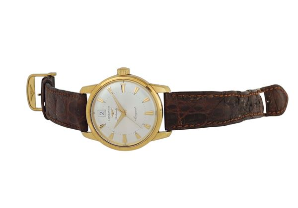 Longines, Conquest Calendar, Automatic, case No. 31411423, 18K yellow gold self-winding, water resistant wristwatch. Made in the 1960's.