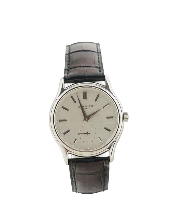 Patek Philippe, Genève, Calatrava, No 1358535, case No. 2836747, Ref. 3923. Made in the 1980's. Fine and rare stainless steel wristwatch with a stainless steel Patek Philippe buckle.