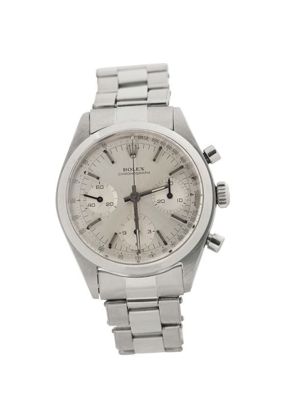 """Rolex, """"Chronograph"""", case No. 866647, Ref. 6238. Made in 1962. Very fine and rare, water-resistant, stainless steel wristwatch with round-button chronograph, registers, and a stainless steel Rolex elastic bracelet with deployant clasp."""