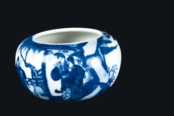 A blue and white brush bowl with common life scene, China, Qing Dynasty, 19th century