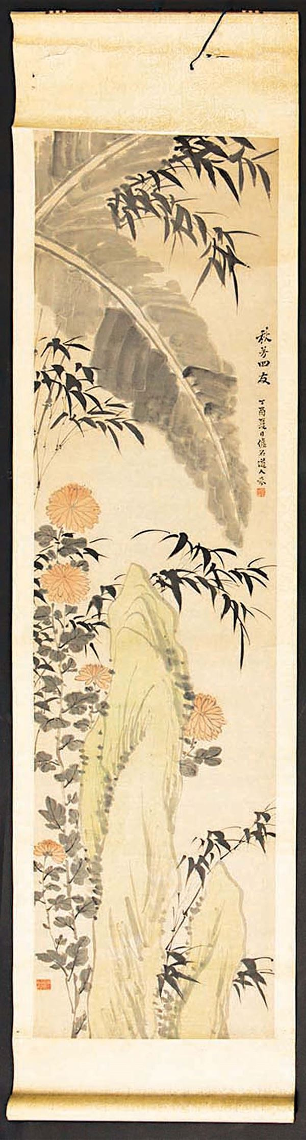 A painting on paper depicting a mountain with flowers and inscription, China, Qing Dynasty, 19th century