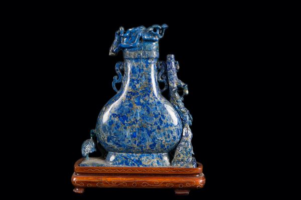 A lapis lazuli vase and cover with decoration in relief, China, Qing Dynasty, 19th century