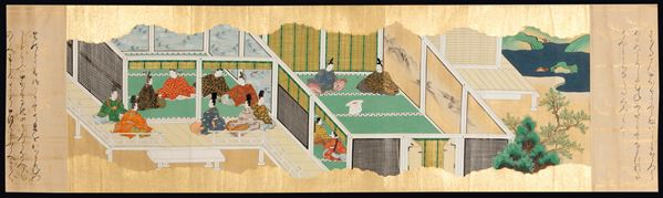 Two gold-ground paintings decipting dignitaries and inscriptions, Japan, late 17th century