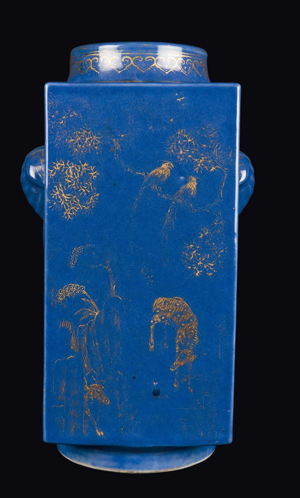 A blue-ground porcelain vase with gilt decorations, China, Qing Dynasty, Guangxu Mark and of the  Period (1875-1908)