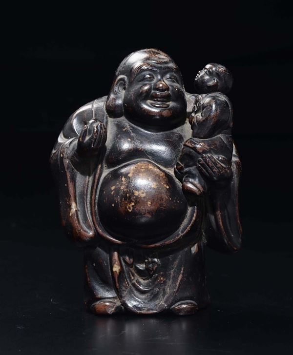 A paste figure of standing Budai with peach and child, China, 20th century