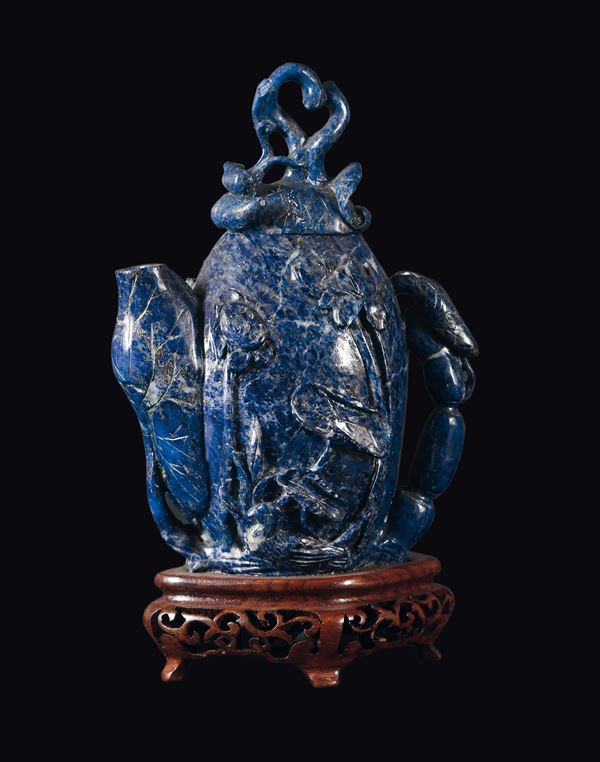 A small lapis lazuli fruit teapot and cover, China, 20th century