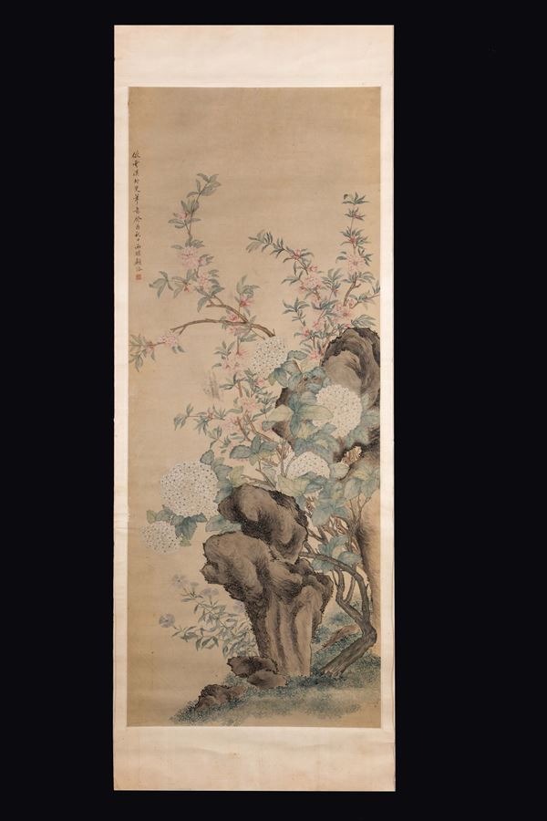 A framed painting on paper depicting flowering branches and inscription, China, Qing Dynasty, 19th century