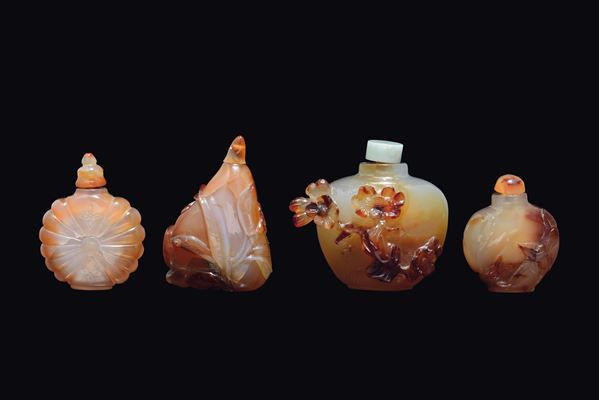 Four agate snuff bottles, China, Qing Dynasty, 19th century