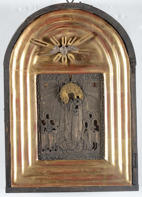 A silver plated icon, Russia, 19th century