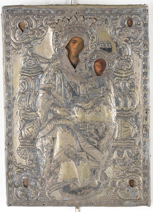 A silver icon with the Mother of God, 19th century