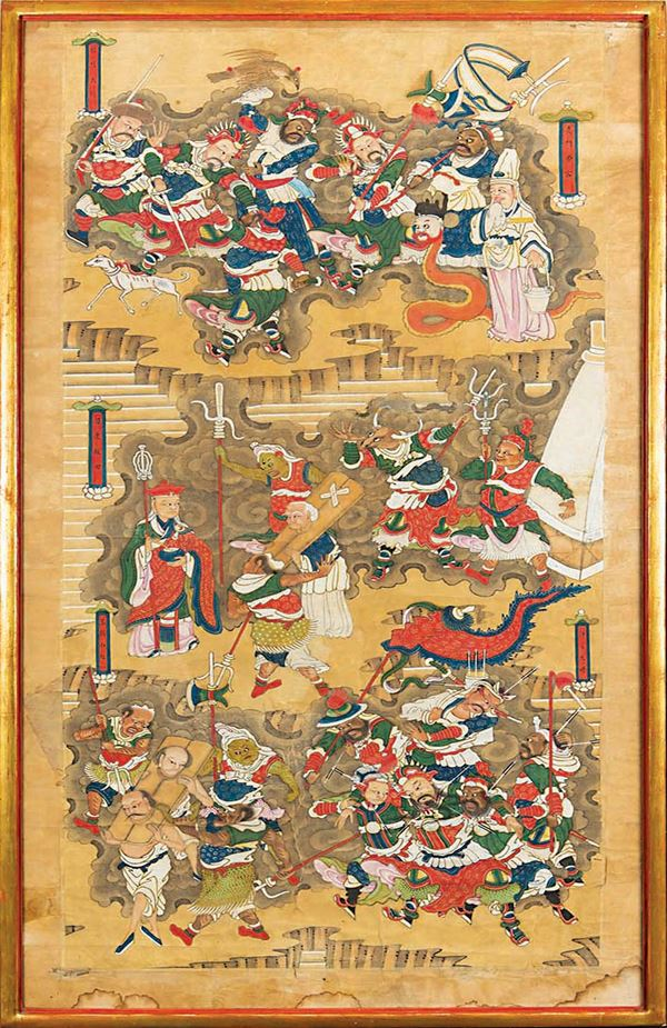 A framed painting on paper depicting battle scenes, China, Qing Dynasty, 19th century