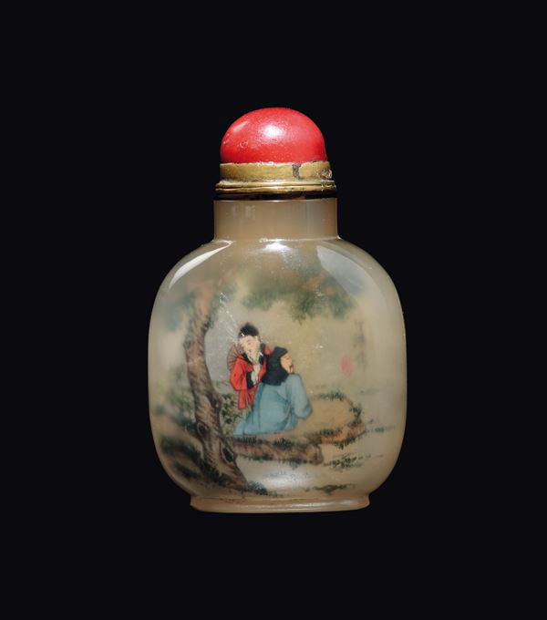 A painted agate snuff bottles with figures and signature, China, Qing Dynasty, 19th century