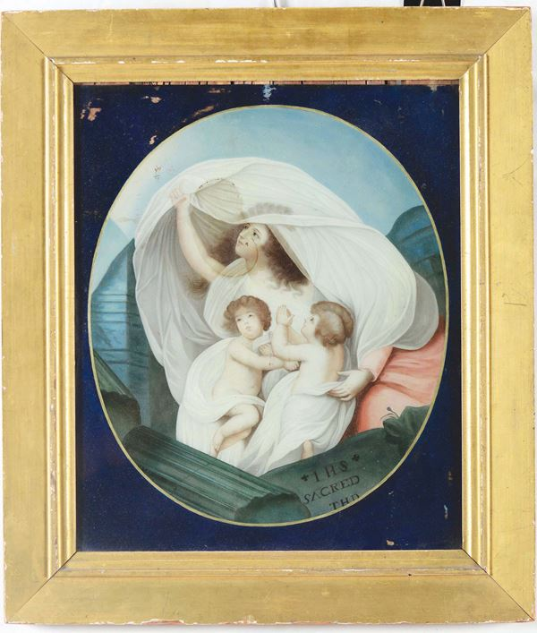 A painting on glass, copy of H.H. Huston The Resurrection of a Pious Family, 1790, Worcester Art Museum, China, 19th Century