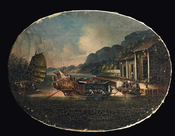 Two paintings on canvas depicting seascape, Chinese School, 19th century