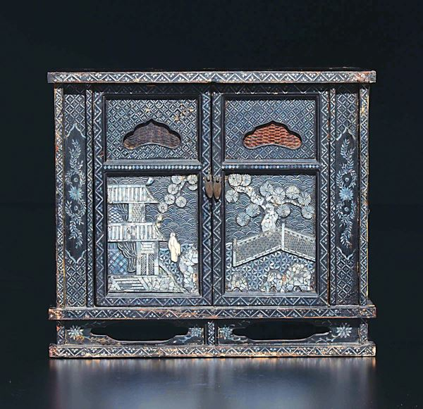 A wooden cabinet with mother-of-pearl inlays, China, Qing Dynasty, 19th century