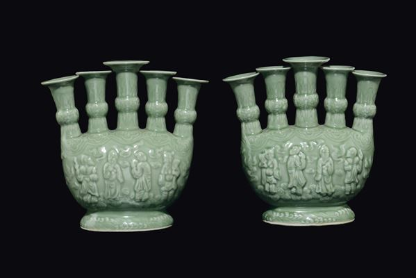 A pair of Celadon porcelain vases, China, Qing Dynasty, 19th century