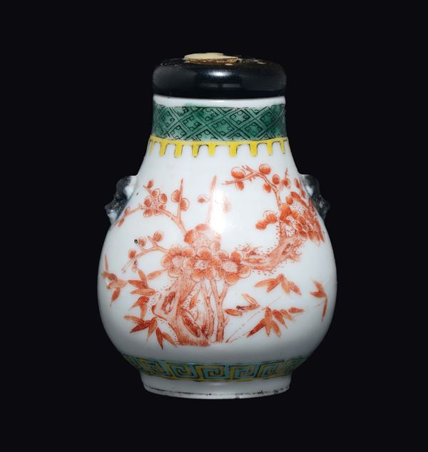 A polychrome enamelled porcelain cherry blossoms snuff bottle, China, Qing Dynasty, Guangxu Period (1875-1908)