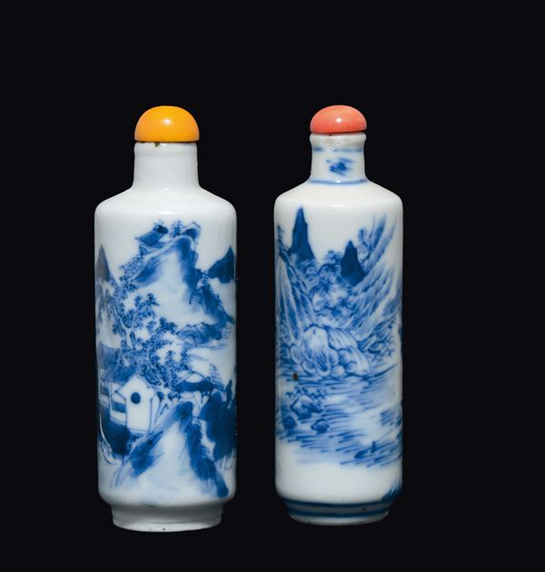 Two blue and white snuff bottles depicting river landscape with fishermen, China, Qing Dynasty, 19th century