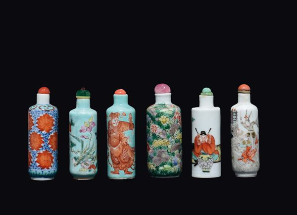 Six polychrome enamelled porcelain snuff bottles, China, Qing Dynasty, 19th century