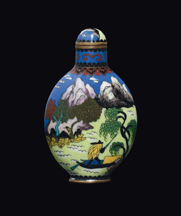 An enamel fisherman and child snuff bottle, China, 20th century