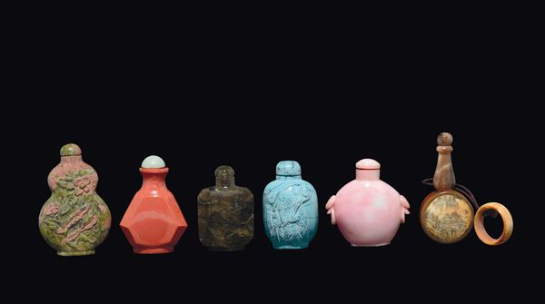 Six different snuff bottles, China, early 20th century