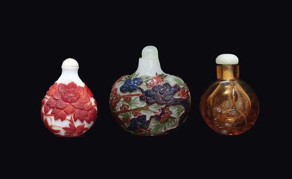 Three glass snuff bottles, China, early 20th century
