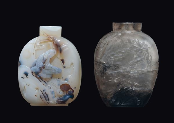 A white agate musician snuff bottle and a smoky rock crystal squirrel on tree snuff bottle, China, Qing Dynasty, 19th century