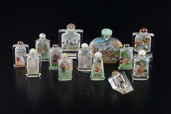 Thirteen painted glass snuff bottles with figures, animals and inscriptions, China, 20th century