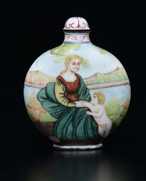 An enamel European subject snuff bottle, China, Qing Dynasty, late 19th century