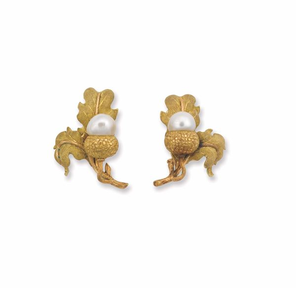 A pair of gold and pearl earrings. Mario Buccellati
