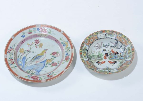 A pair of polychrome enamelled porcelain dishes, China, Qing Dynasty, 18th and 20th century