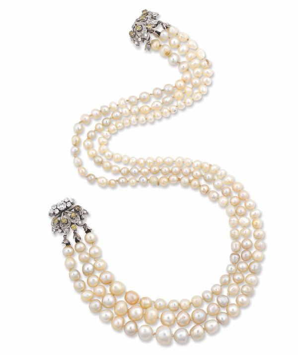 A three stand natural pearl necklace