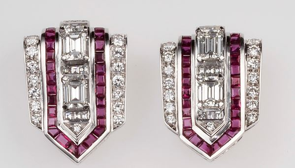 A pair of diamond and ruby clips