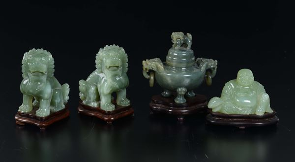 Lot of green jades: a censer, two Pho dogs and a Budai, China, 20th century