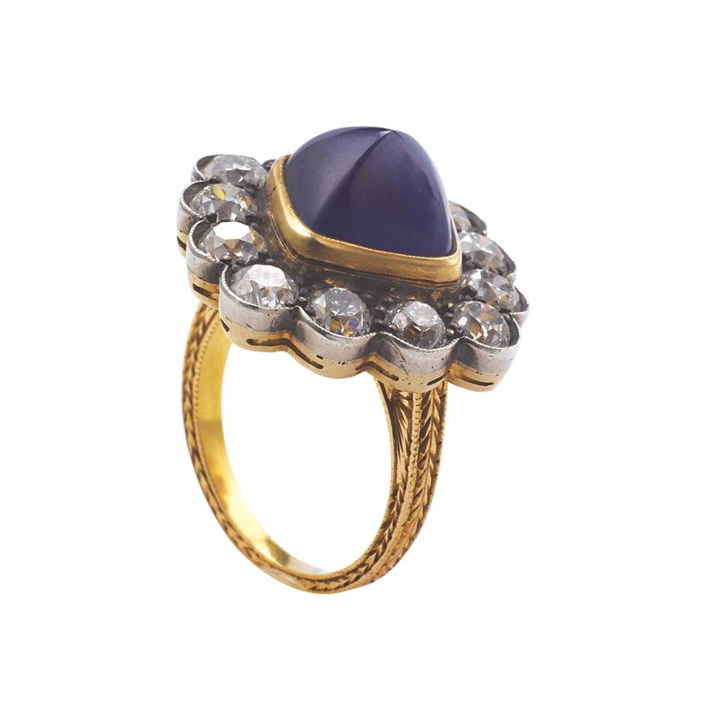 A sugar loaf-cut sapphire and diamond ring. GRS report  - Auction Fine Jewels - I - Cambi Casa d'Aste