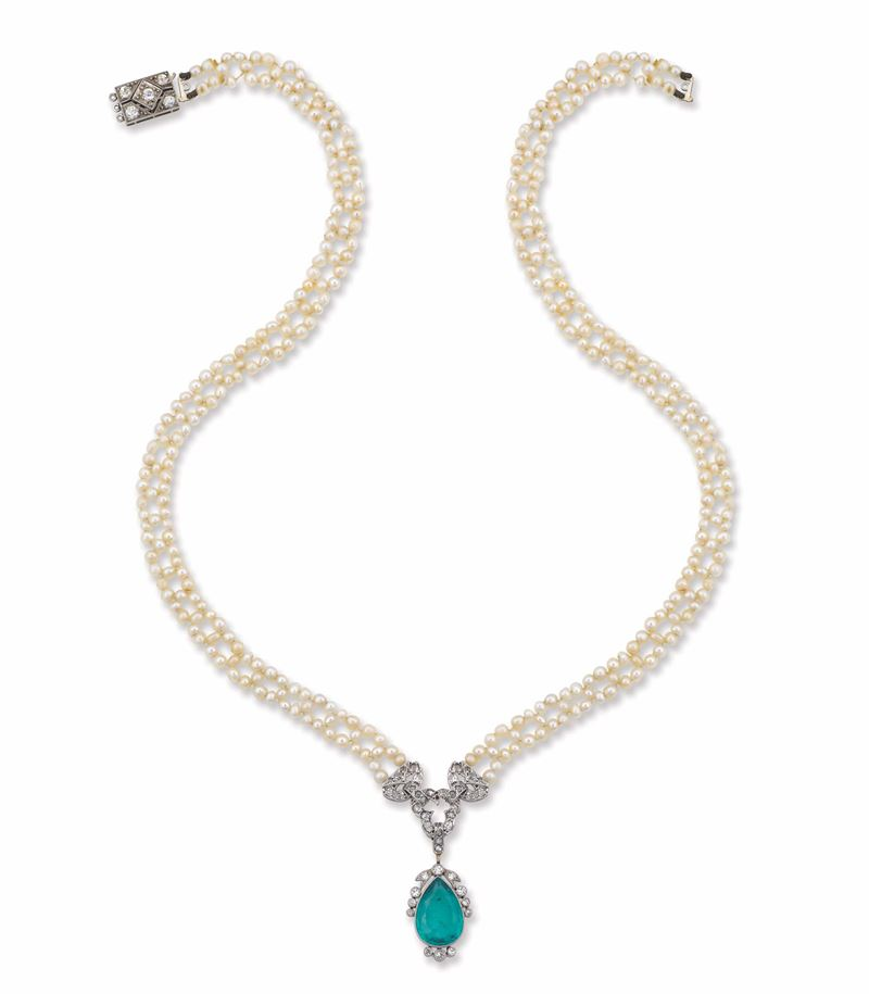 An Art Deco necklace with emerald and pearl  - Auction Fine Jewels - I - Cambi Casa d'Aste