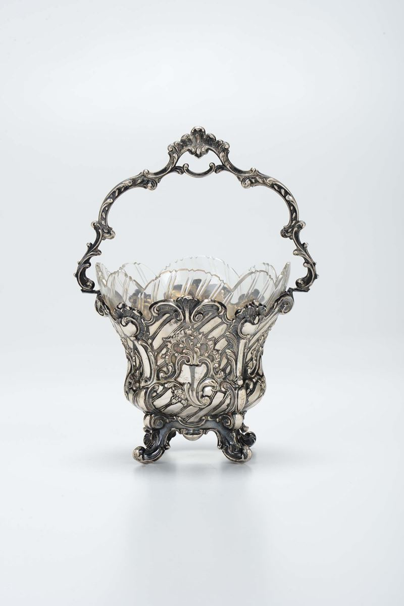 A silver basket with glass inside, Luigi Filippo.  - Auction Modern and Contemporary Silvers - Cambi Casa d'Aste