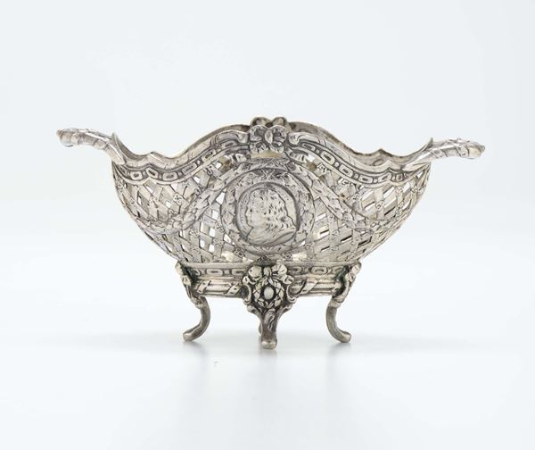 A perfored silver basket, France.