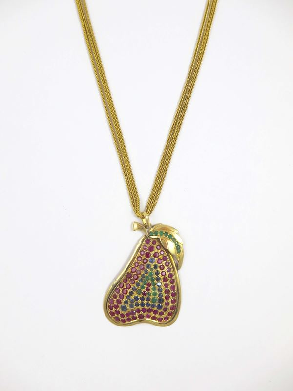 Ruby, sapphire and emerald pendant
