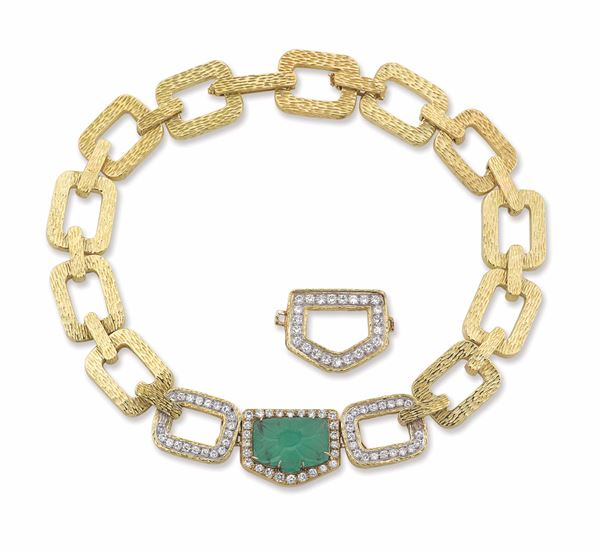 A gold, diamond and carved emerald necklace