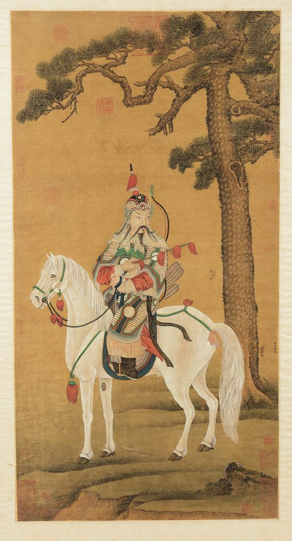 A painting on paper depicting warrior on a horse with Tian Shen Jing' signature, China, Qing Dynasty,  [..]