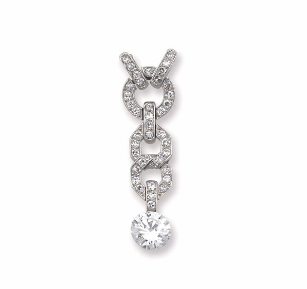 An Art Deco pendant with a round brillant-cut diamond weighing 3,19 carats. R.A.G. report